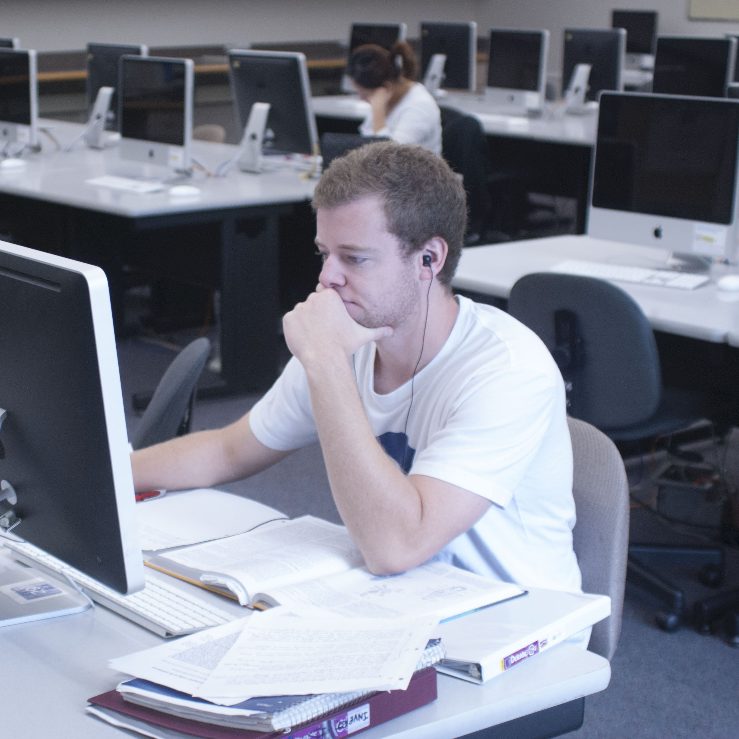 A student in the 24-hour computing lab