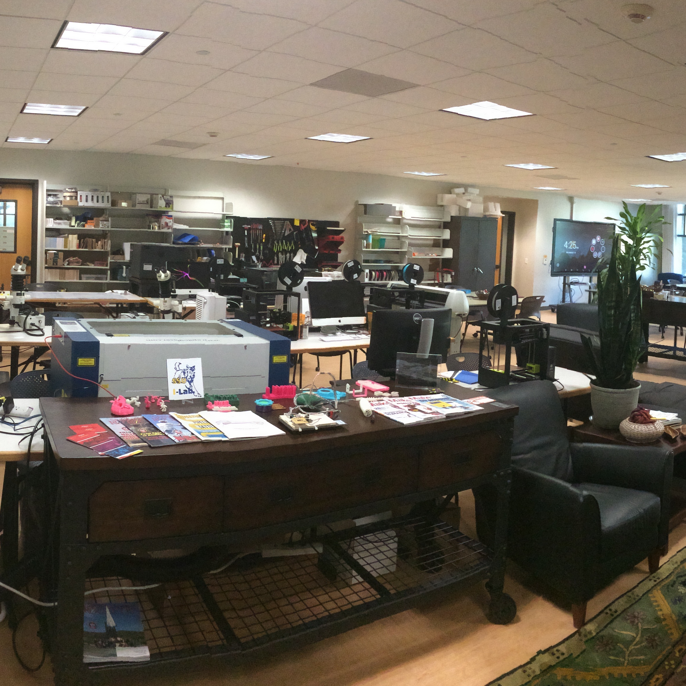A fraction of a panoramic shot of the makerspace